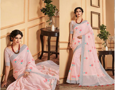Designer Baby Pink Linen Cotton Embroidered Saree LT63003 - Ethnic's By Anvi Creations