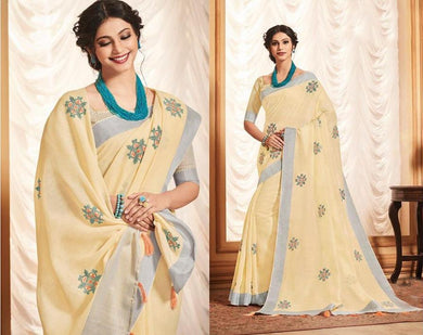 Designer Yellow Linen Cotton Embroidered Saree LT63004 - Ethnic's By Anvi Creations