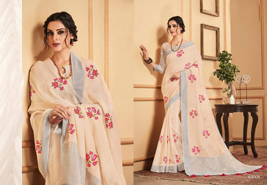 Designer Peachy Cream Linen Cotton Embroidered Saree LT63008 - Ethnic's By Anvi Creations