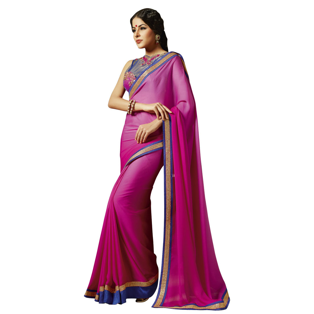 Exclusive Pink Saree with Designer Blouse Fabric SC711 - Ethnic's By Anvi Creations