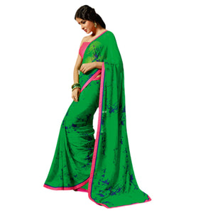 Exclusive Green Saree with Designer Blouse Fabric SC729 - Ethnic's By Anvi Creations