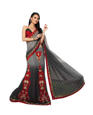 Designer Embroidered Grey Faux Chiffon Lehenga Style Saree SC4706 - Ethnic's By Anvi Creations