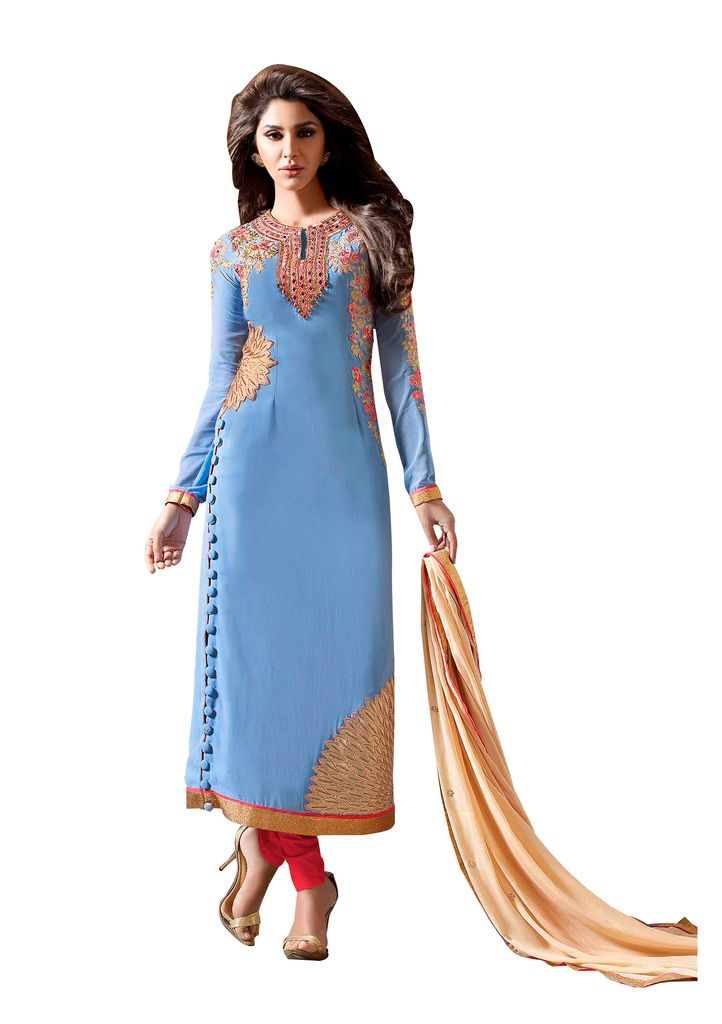 Designer Sky Blue Georgette Embroidered Dress Material Nazmeen Dupatta M10031 - Ethnic's By Anvi Creations