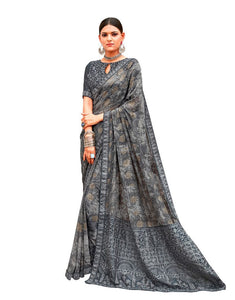 Designer Gray Georgette Printed Embroidered Saree MAT1801 - Ethnic's By Anvi Creations