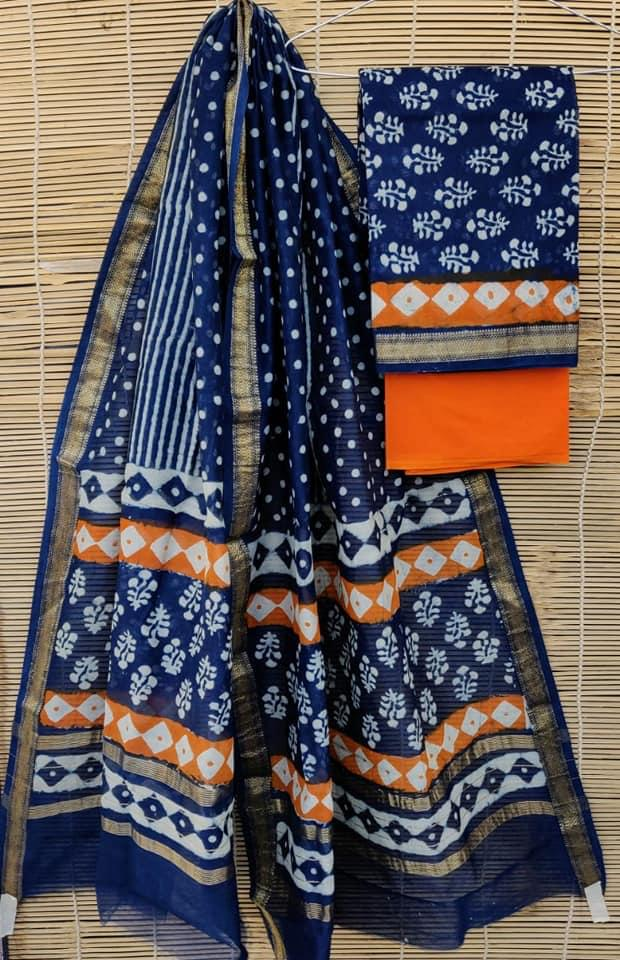 Exclusive Blue Maheshwari Silk Salwar Kameez Dress Material MB09