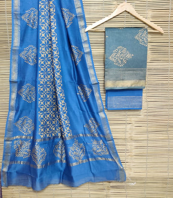 Exclusive Gray Blue Maheshwari Silk Salwar Kameez Dress Material MB17