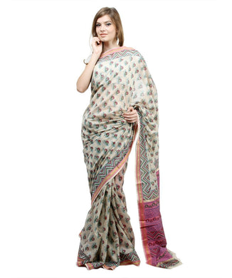 Block Printed Off White Maheshwari Mercerised Cotton saree - Ethnic's By Anvi Creations