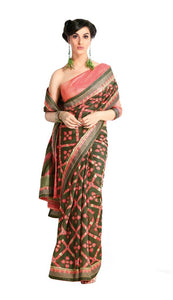 Designer Green Handloom Silk Light Embellished Saree SCMIS02 - Ethnic's By Anvi Creations