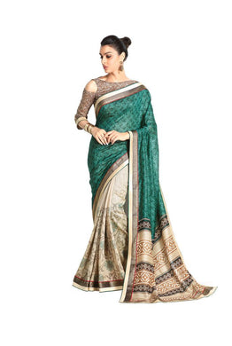 Designer Green Handloom Silk Light Embellished Saree SCMIS06 - Ethnic's By Anvi Creations