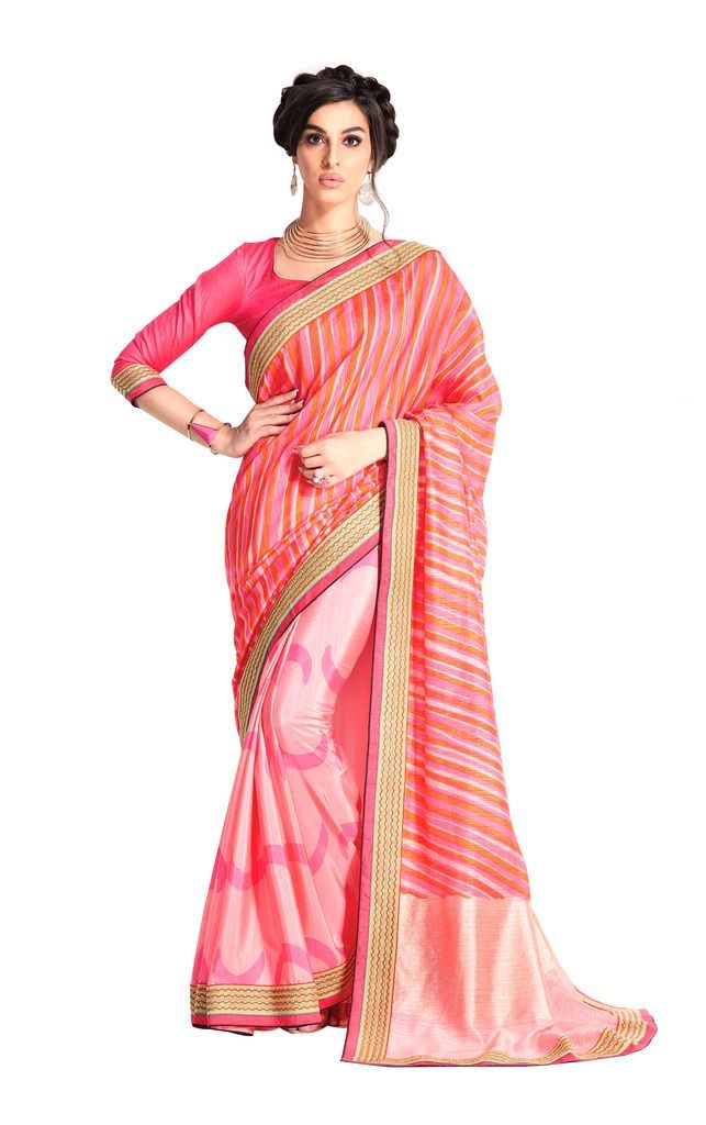 Designer Pink Handloom Silk Light Embellished Saree SCMIS07 - Ethnic's By Anvi Creations