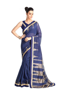 Designer Blue Handloom Silk Light Embellished Saree SCMIS08 - Ethnic's By Anvi Creations