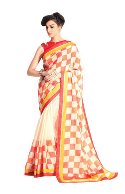Designer Off White Handloom Silk Light Embellished Saree SCMIS09 - Ethnic's By Anvi Creations