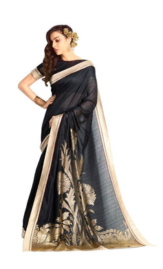 Designer Black Handloom Silk Light Embellished Saree SCMIS10 - Ethnic's By Anvi Creations