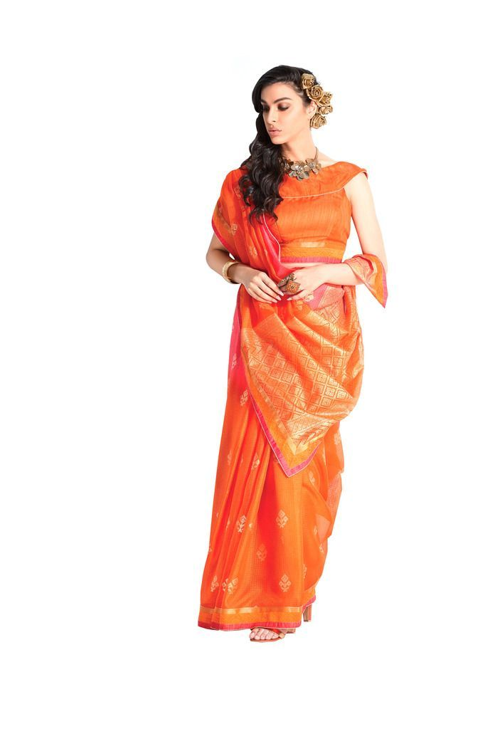 Designer Orange Handloom Silk Light Embellished Saree SCMIS19 - Ethnic's By Anvi Creations