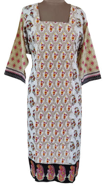 Designer White Semi Stitched Kurti Kurta Embroidered MS4B