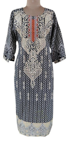 Designer Black Semi Stitched Kurti Kurta Embroidered MS5B