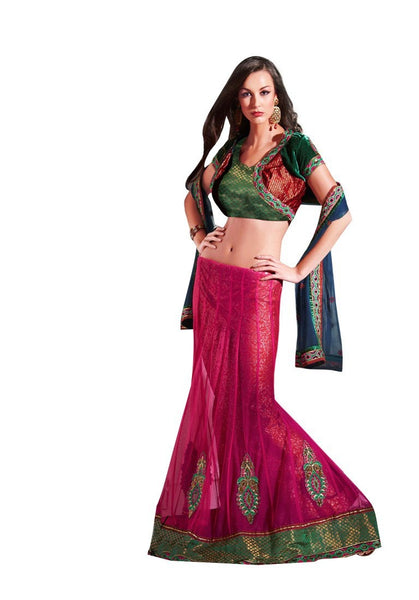 Designer Pink Net 3 pc Shrug Embroidered Lehenga Choli SC2119