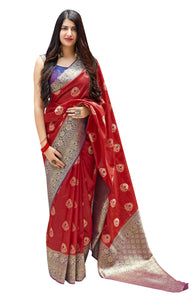 Designer Red Weaven Pure Silk Saree MAN1309 - Ethnic's By Anvi Creations