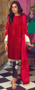 Designer Pakistani Replica Muzlin Red Cambric Cotton Dress Material M1003