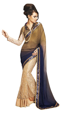Designer Wedding Partywear Shaded Blue Golden Net Georgette Saree SC12002 - Ethnic's By Anvi Creations