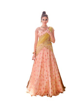 Load image into Gallery viewer, Designer Peach Semi Stitched Net Lehenga Choli Dupatta 4152
