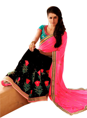 Black Neon Pink Georgette Saree SC6006B - Ethnic's By Anvi Creations