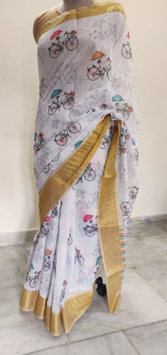 Designer Off white Quirky Printed Linen Silk Saree ND01