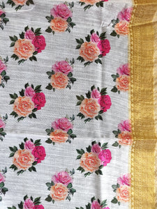 Designer Off white Floral Printed Linen Silk Saree ND03