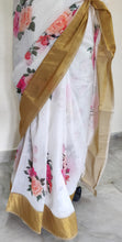 Load image into Gallery viewer, Designer Off white Floral Printed Linen Silk Saree ND03