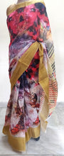 Load image into Gallery viewer, Designer Multi Digital Printed Linen Silk Saree ND04