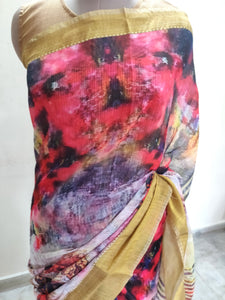 Designer Multi Digital Printed Linen Silk Saree ND04