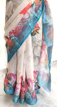 Load image into Gallery viewer, Designer Beige Floral Printed Linen Silk Saree ND07