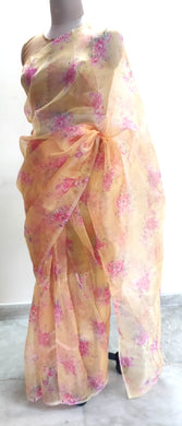Designer Faux Organza Peach Floral Saree ND09