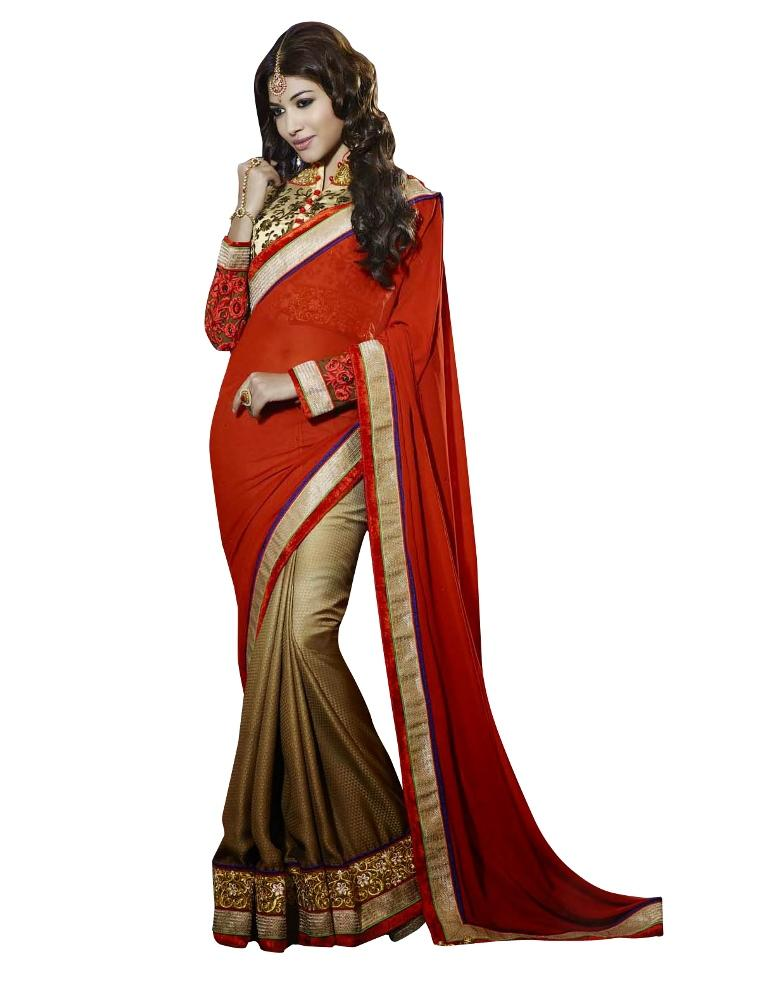 Red Gold Georgette Satin Embroidered Saree SC1103 - Ethnic's By Anvi Creations