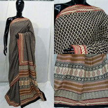 Charger l'image dans la galerie, Exclusive Bagru Hand Block Printed Black Cotton Saree NV01