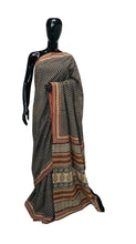 Load image into Gallery viewer, Exclusive Bagru Hand Block Printed Black Cotton Saree NV01