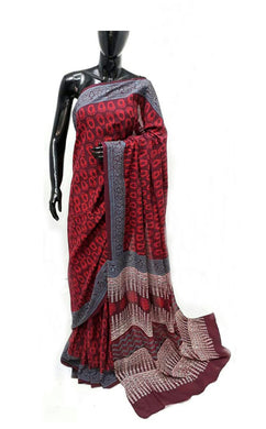 Exclusive Bagru Hand Block Printed Maroon Cotton Saree NV04