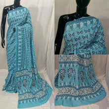 Load image into Gallery viewer, Exclusive Bagru Hand Block Printed Turquoise Cotton Saree NV05