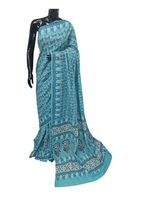 Exclusive Bagru Hand Block Printed Turquoise Cotton Saree NV05