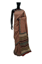 Load image into Gallery viewer, Exclusive Bagru Hand Block Printed Maroon Cotton Saree NV10