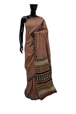 Exclusive Bagru Hand Block Printed Maroon Cotton Saree NV10