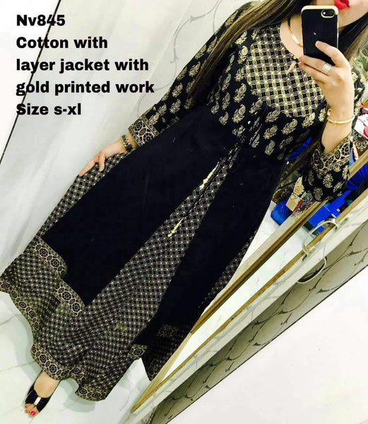 Designer Selfie Black Double Layer Gold Printed Cotton Long Kurta Kurti Dress NV845 - Ethnic's By Anvi Creations