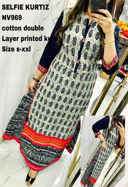 Designer Selfie Offwhite Double Layer Cotton Long Kurta Kurti Dress NV969 - Ethnic's By Anvi Creations