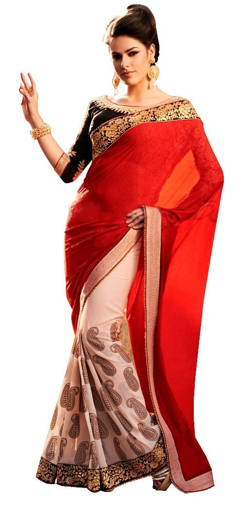 Beige Red Georgette Saree SC6001 - Ethnic's By Anvi Creations