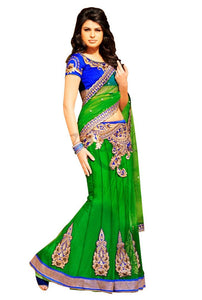 Green Net Lehenga Style Saree SC6012 - Ethnic's By Anvi Creations