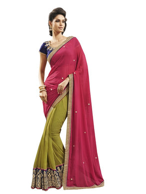 Pink Green Georgette Embroidered Saree SC9002 - Ethnic's By Anvi Creations