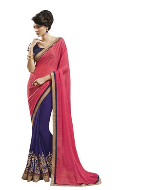 Carrot Pink Blue Georgette Embroidered Saree SC9003 - Ethnic's By Anvi Creations