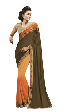 Green Peach Georgette Embroidered Saree SC9005 - Ethnic's By Anvi Creations