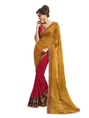 Yellow Pink Georgette Embroidered Saree SC9008B - Ethnic's By Anvi Creations