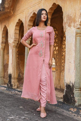 Designer Peachy Pink Georgette Ready to Wear Two Piece Trouser Kurta Set OM01 - Ethnic's By Anvi Creations